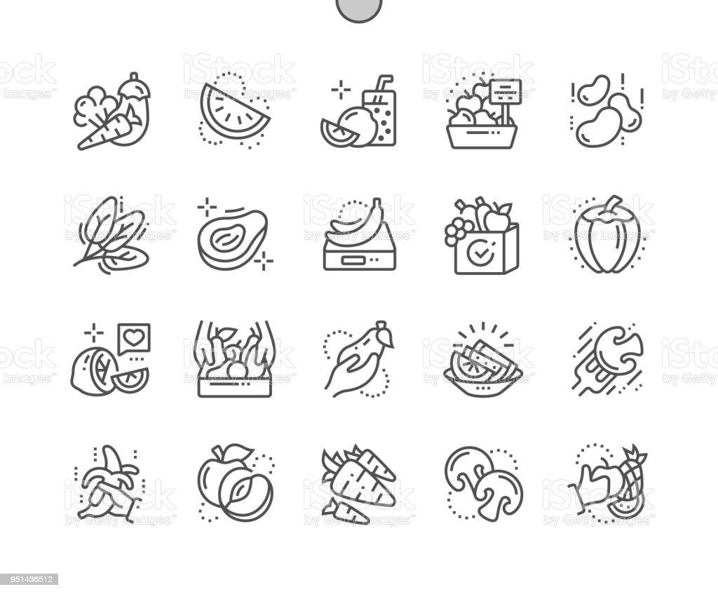 Frutas y verduras bien elaborado Pixel perfecto Vector delgada línea iconos 30 2 x rejilla para gráficos Web y aplicaciones. Pictograma mínimo simple - ilustración de arte vectorial