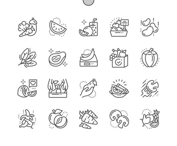 illustrations, cliparts, dessins animés et icônes de fruits et légumes bien ficelé pixel parfait thin line icônes vectorielles 30 2 x grille pour les graphiques web et applications. simple minime pictogramme - antioxydant