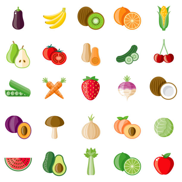 ilustraciones, imágenes clip art, dibujos animados e iconos de stock de conjunto de icones de frutas y verduras - fruta