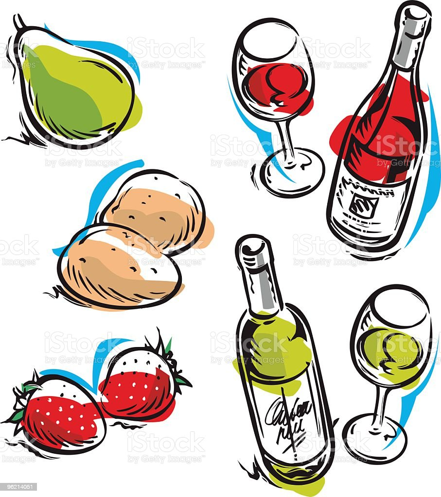 Fruits and Wine royalty-free fruits and wine stock vector art & more images of bottle