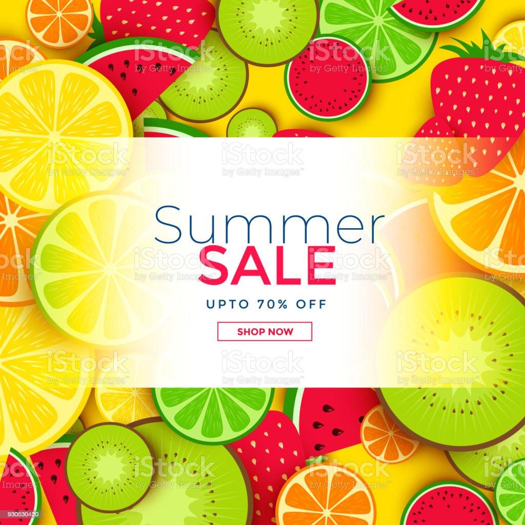 Fruits Background For Summer Sale Stock Illustration
