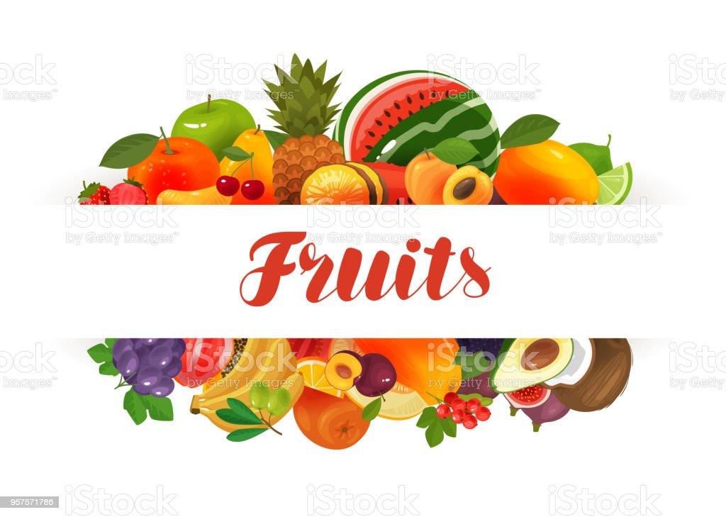 Fruits, banner. Natural food, greengrocery concept. Vector illustration vector art illustration