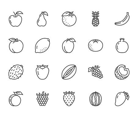 Fruits, berry flat line icons set. Orange, strawberry, pineapple, mango, lemon, kiwi, apple, grape vector illustrations. Outline signs for organic food store. Pixel perfect 64x64. Editable Strokes