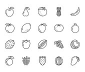 Fruits, berry flat line icons set. Orange, strawberry, pineapple, mango, lemon, kiwi, apple, grape vector illustrations. Outline signs for organic food store. Pixel perfect 64x64. Editable Strokes.