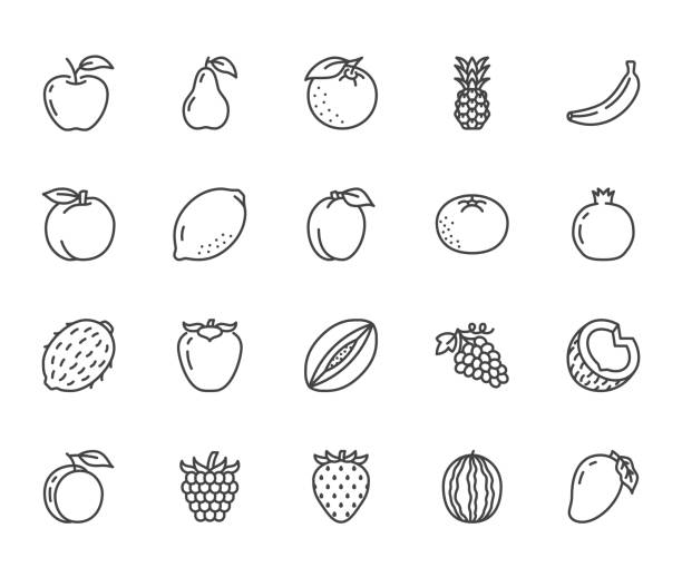 illustrazioni stock, clip art, cartoni animati e icone di tendenza di fruits, berry flat line icons set. orange, strawberry, pineapple, mango, lemon, kiwi, apple, grape vector illustrations. outline signs for organic food store. pixel perfect 64x64. editable strokes - fragole