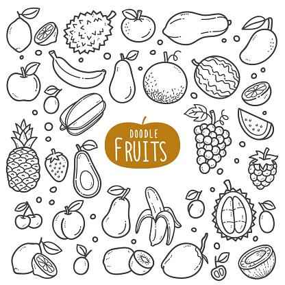 Fruits Black and White Illustration.