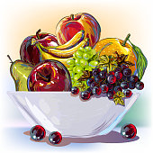 Fruits Bowl. Elements are grouped.contains eps10 and high resolution jpeg.