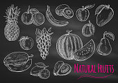 Fruits chalk sketch icons on blackboard