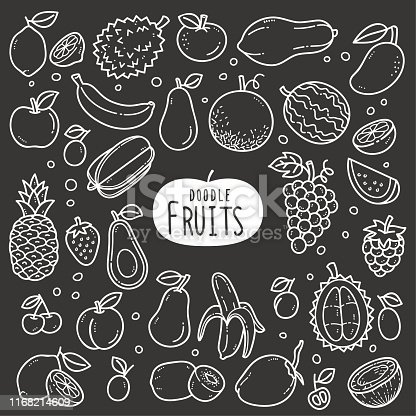 Fruits doodle drawing collection. fruit such as lemonade, watermelon, pineapple, grapes, coconut, durians etc. Hand drawn vector doodle illustrations in black and white blackboard chalk style.