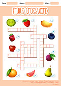 A fruits crossword template illustration