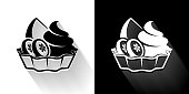 istock Fruits & Desserts  Black and White Icon with Long Shadow 1205289428