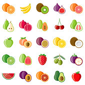 A set of flat design styled fruits icons with a long side shadow. Color swatches are global so it's easy to edit and change the colors. File is built in the CMYK color space for optimal printing.