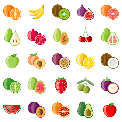 Fruits Flat Design Icon Set