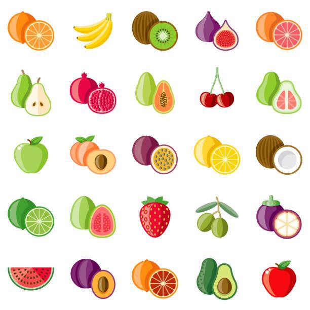 ilustraciones, imágenes clip art, dibujos animados e iconos de stock de conjunto de iconos de diseño plano de frutas - fruta