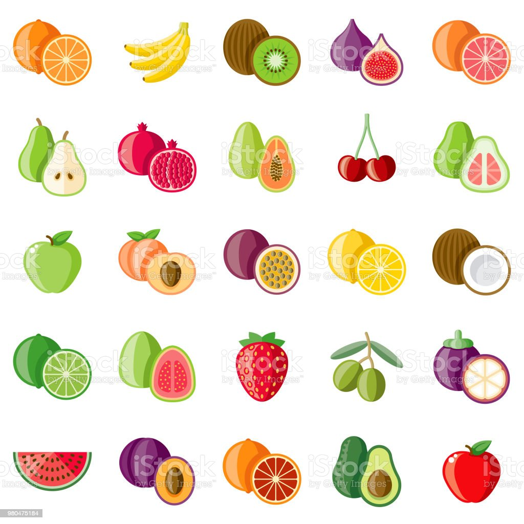 Fruits Flat Design Icon Set vector art illustration