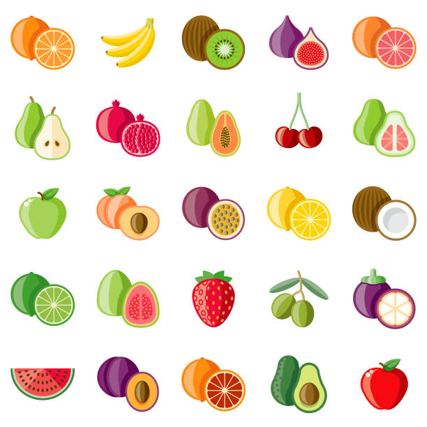 Fruits Flat Design Icon Set A set of flat design styled fruits icons with a long side shadow. Color swatches are global so it's easy to edit and change the colors. File is built in the CMYK color space for optimal printing. avocado clipart stock illustrations
