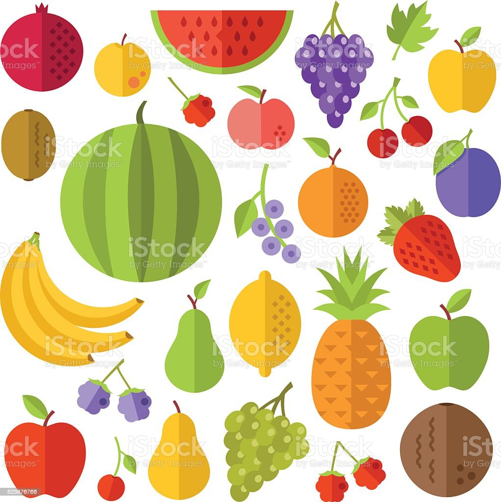 Fruits flat icons set vector art illustration