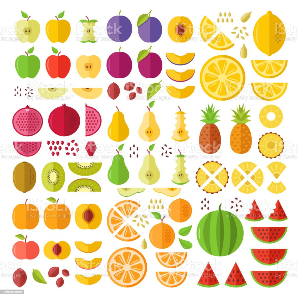 Fruits. Flat icons set. Whole fruits, slices, cuts, wedges, halves, seeds, pits, etc. Flat design graphic elements. Vector icons vector art illustration
