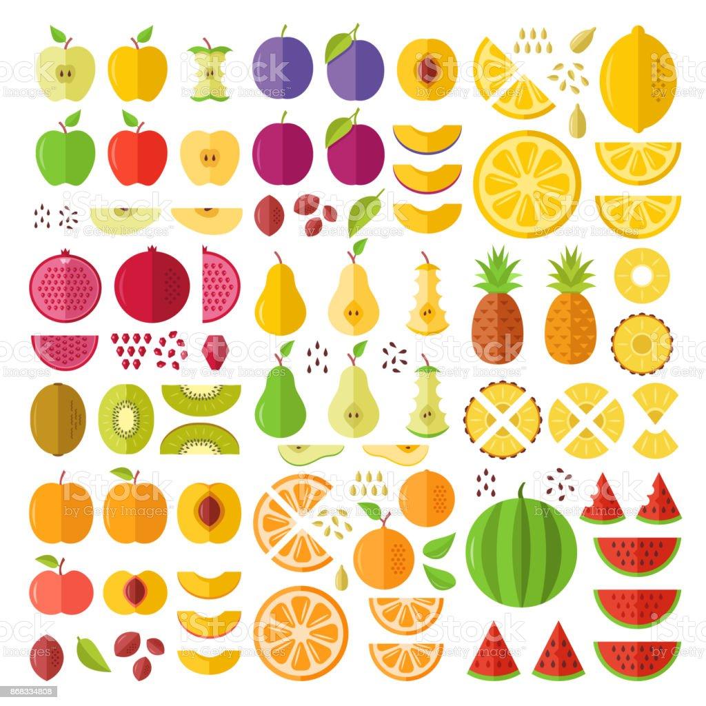 Frutas. Conjunto de iconos plano. Frutas enteras, rodajas, cortes, cuñas, mitades, semillas, pozos, etcetera. Elementos gráficos de diseño plano. Iconos de vector - ilustración de arte vectorial