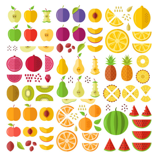 Fruits. Flat icons set. Whole fruits, slices, cuts, wedges, halves, seeds, pits, etc. Flat design graphic elements. Vector icons Fruits. Flat icons set. Whole fruits, slices, cuts, wedges, halves, seeds, pits, etc. Flat design graphic elements for web sites, mobile apps, web banner, infographics, printed materials. Vector icons lemon fruit stock illustrations