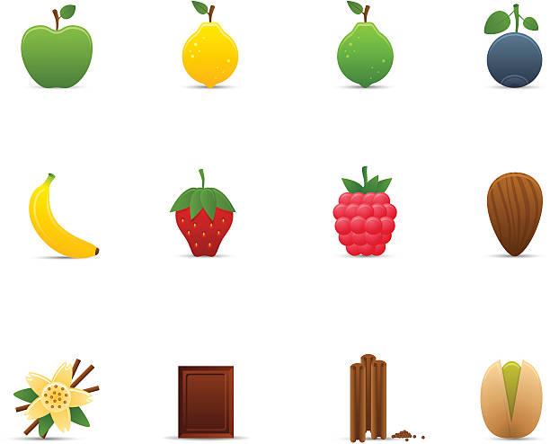 stockillustraties, clipart, cartoons en iconen met fruits & flavors icon set | optima series - vanille