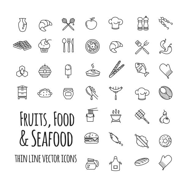 fruits, food and seafood outline set of vector icons vector art illustration