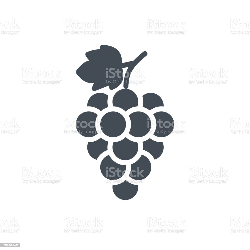 Fruits Food Silhouette Icon Grape vector art illustration