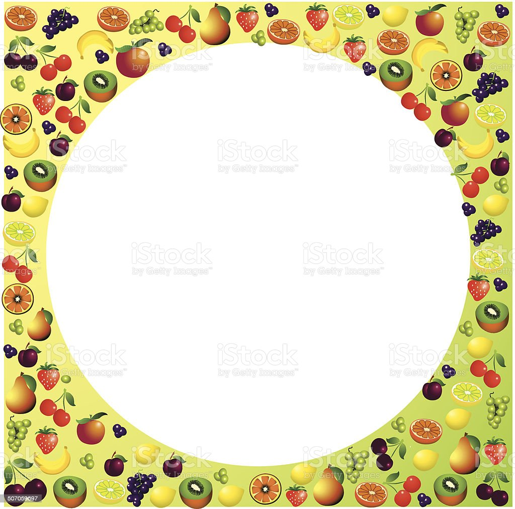 Fruits frame made with different fruits, healthy food theme royalty-free stock vector art