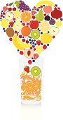 Fruits falling from the bottom of a heart shape into a glass, creating a delicious and healthy fruit drink.
