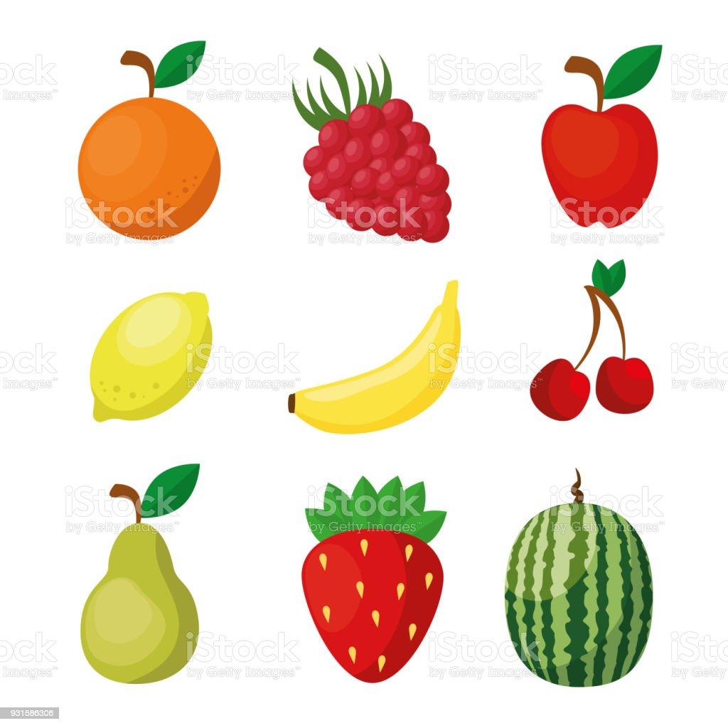Ilustración De Iconos De Frutas Alimentos Saludables Veganas Y Más