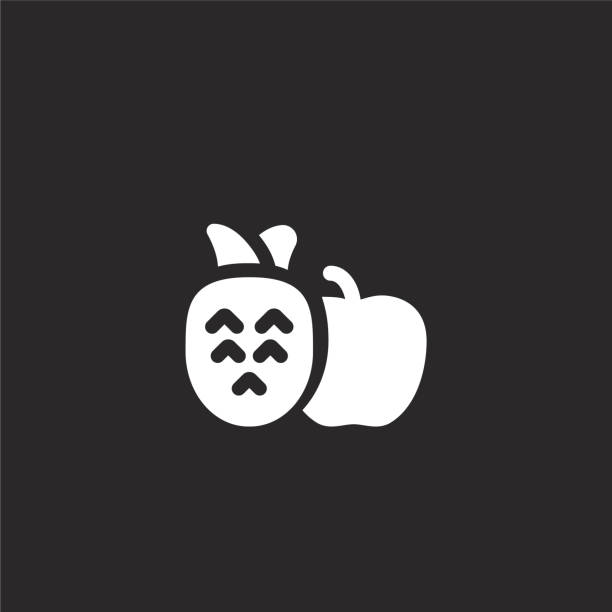 fruits icon. Filled fruits icon for website design and mobile, app development. fruits icon from filled wellness collection isolated on black background. fruits icon. Filled fruits icon for website design and mobile, app development. fruits icon from filled wellness collection isolated on black background. avocado symbols stock illustrations