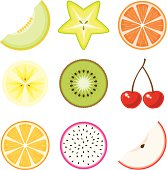 A set of fruit icons. No gradients used.