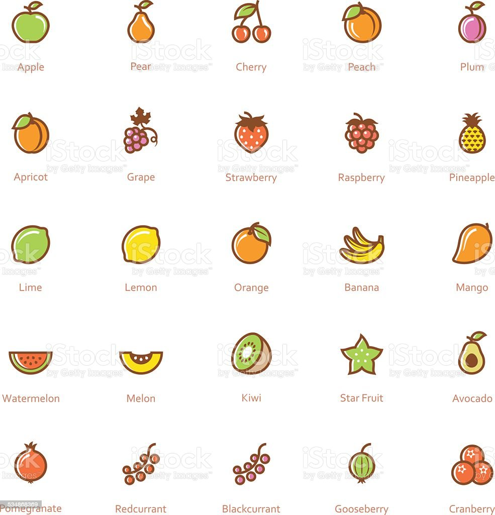 Fruits icon set vector art illustration