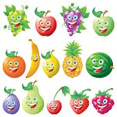 Fruits icons cartoon character set isolated