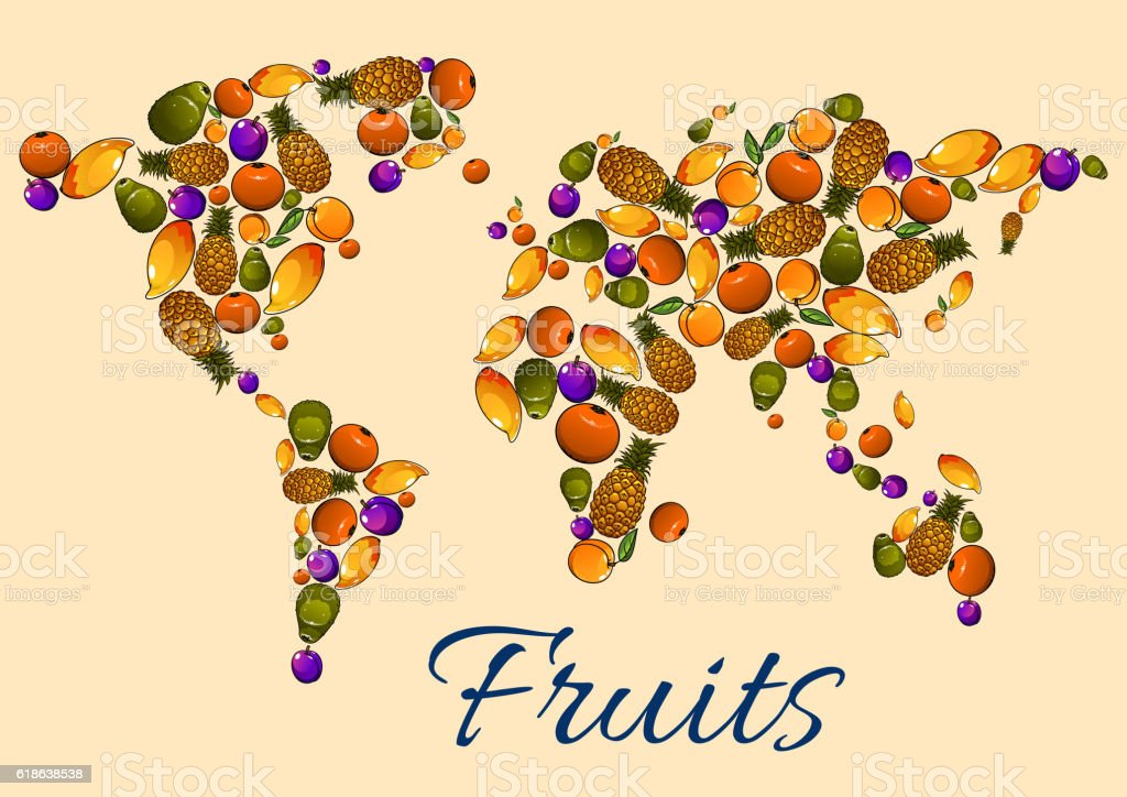 Fruits icons in world map stock vector art more images of abstract fruits icons in world map royalty free fruits icons in world map stock vector art gumiabroncs Gallery