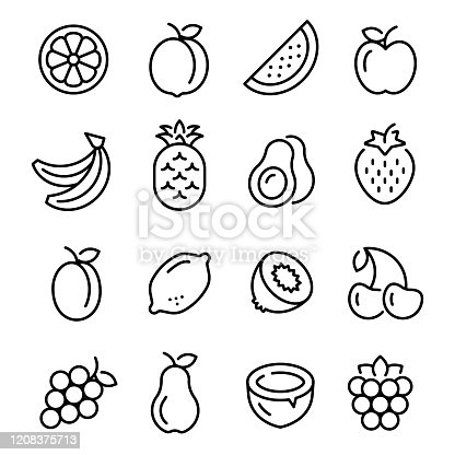 fruits icons set. collection of linear web icons, editable vector stroke