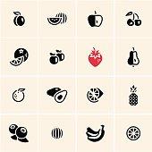 Fruits icons set.