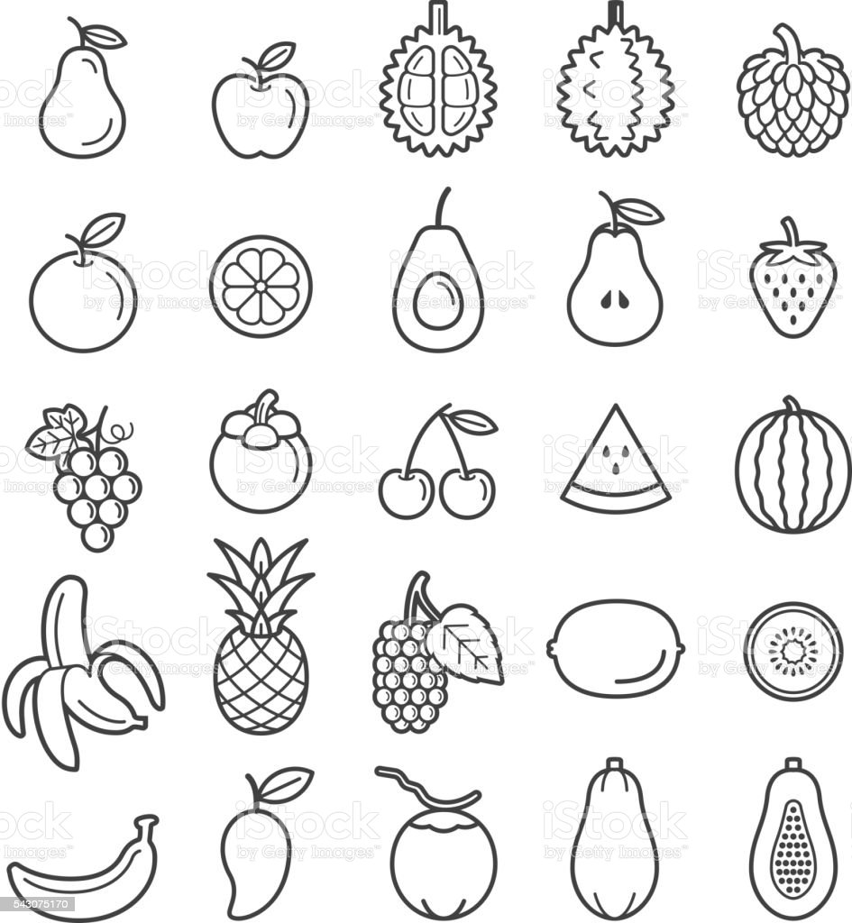 Obst-Icons. – Vektorgrafik