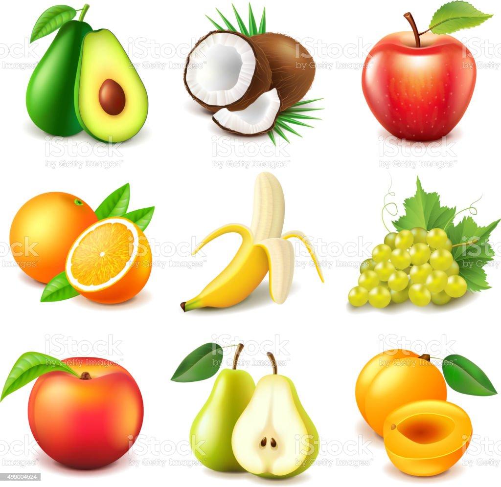 Obst-icons, Vektor-set – Vektorgrafik