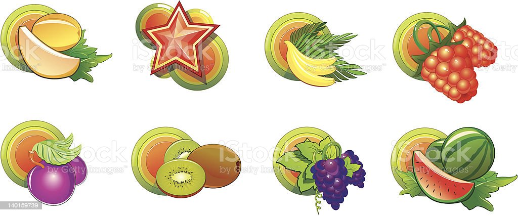Fruits icons with color circles royalty-free stock vector art