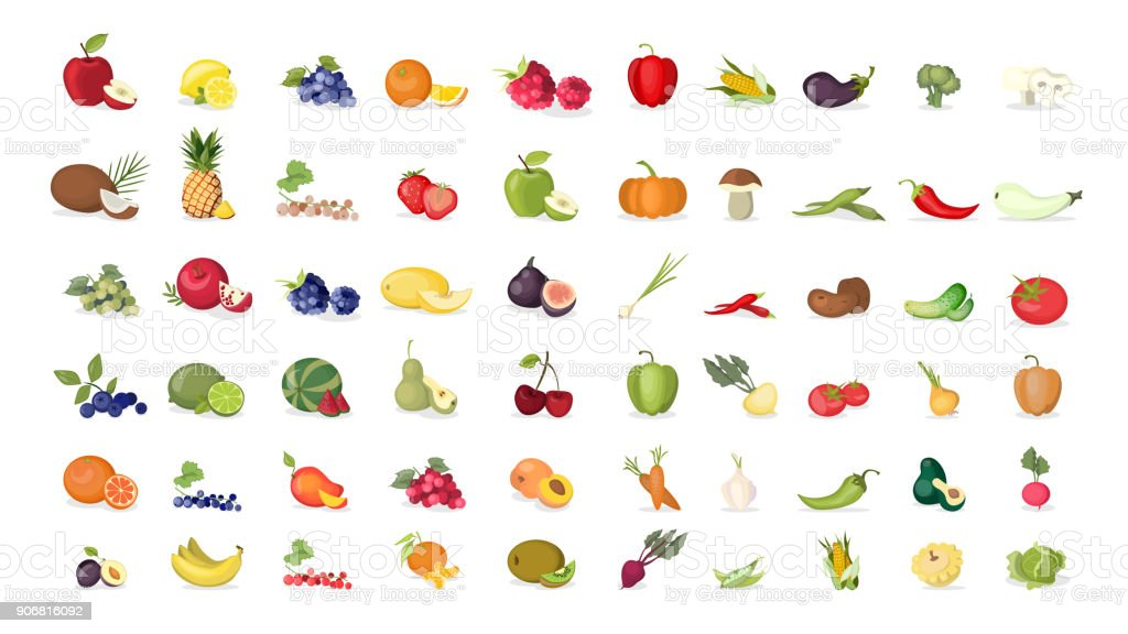 Illustrations de fruits mis sur fond blanc. - Illustration vectorielle
