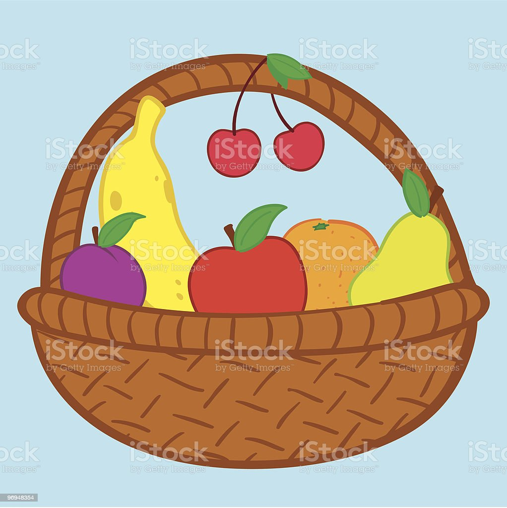 fruits in basket doodle stock vector art more images of art and