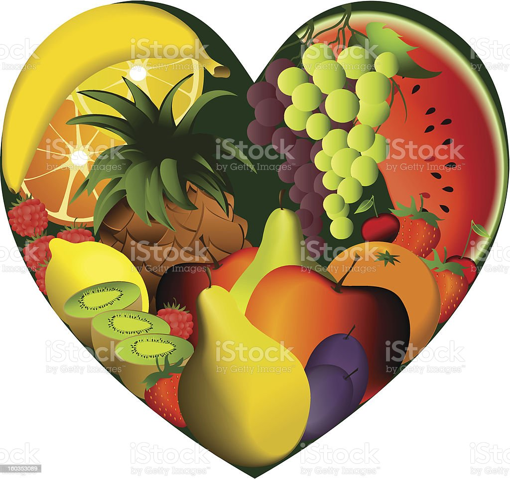 Fruits in heart shape royalty-free stock vector art