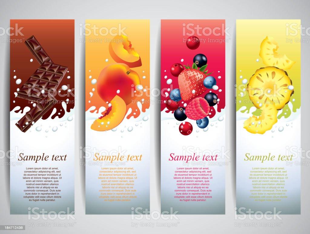 Fruits in milk splashes vector banners vector art illustration