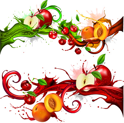 Fruits in splash juice stream