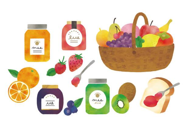 フルーツジャム - 食パン点のイラスト素材/クリップアート素材/マンガ素材/アイコン素材