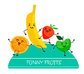 Fruits kawaii orange, banana, strawberry, apple in design with text Fresh fruit on a white background. Vector illustration