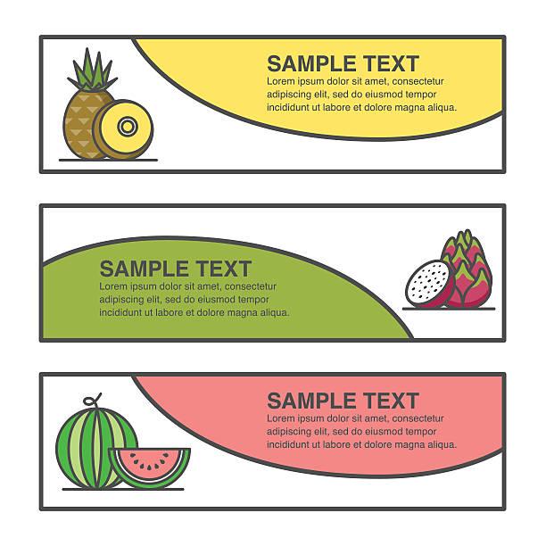 フルーツラベルデザインのパイナップル、ドラゴンフルーツとウォーターメロンの食材を用いております。 ベクターアートイラスト