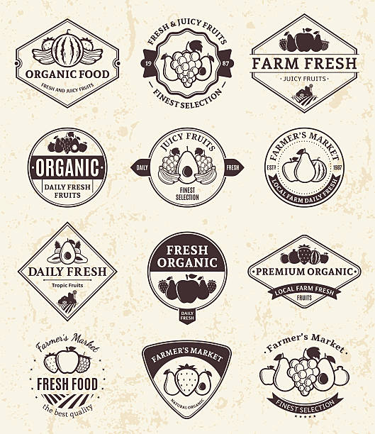 Fruits Labels and Design Elements Set of  retro styled fruit labels templates. Fruit labels with sample text. Fruits icons for groceries, agriculture stores, packaging and advertising. Vector lables design. avocado silhouettes stock illustrations
