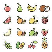 Line art icons fruit icons - part 1. Includes apple, pear, bananas, grapes, raspberry, strawberry, orange, lemon. lime, grapefruit, avocado, pineapple, cherries, melon, watermelon and coconut.